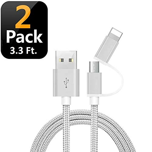 (Dimco 2 in 1 USB Charging Cable - Compatible with Lightning cable iPhone charger - Micro USB cable Android charger - works with iOS Android Devices - Nylon Braided Phone Charger Cord - 2 Pack (3.3 ft))
