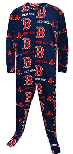 Boston Red Sox Guys One Piece Footie Pajama for men (Medium)