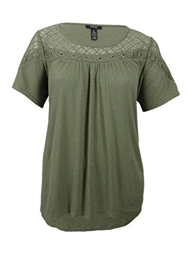 Style & Co Shirt Top (Style & Co. Womens Plus Ribbed Knit Grommet Casual Top Green 2X)