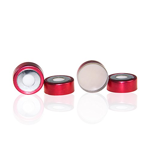 ALWSCI 20 mm Bi-Metallic Crimp Cap with Natural PTFE/Natural Silicone Septa, Red and Silver, 100 pcs/pk