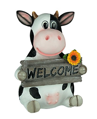 - World Of Wonders Resin Outdoor Statues Mary Moo Farm Cow Holding Welcom Sign Entry Decor 9.5 X 13 X 7.5 Inches White