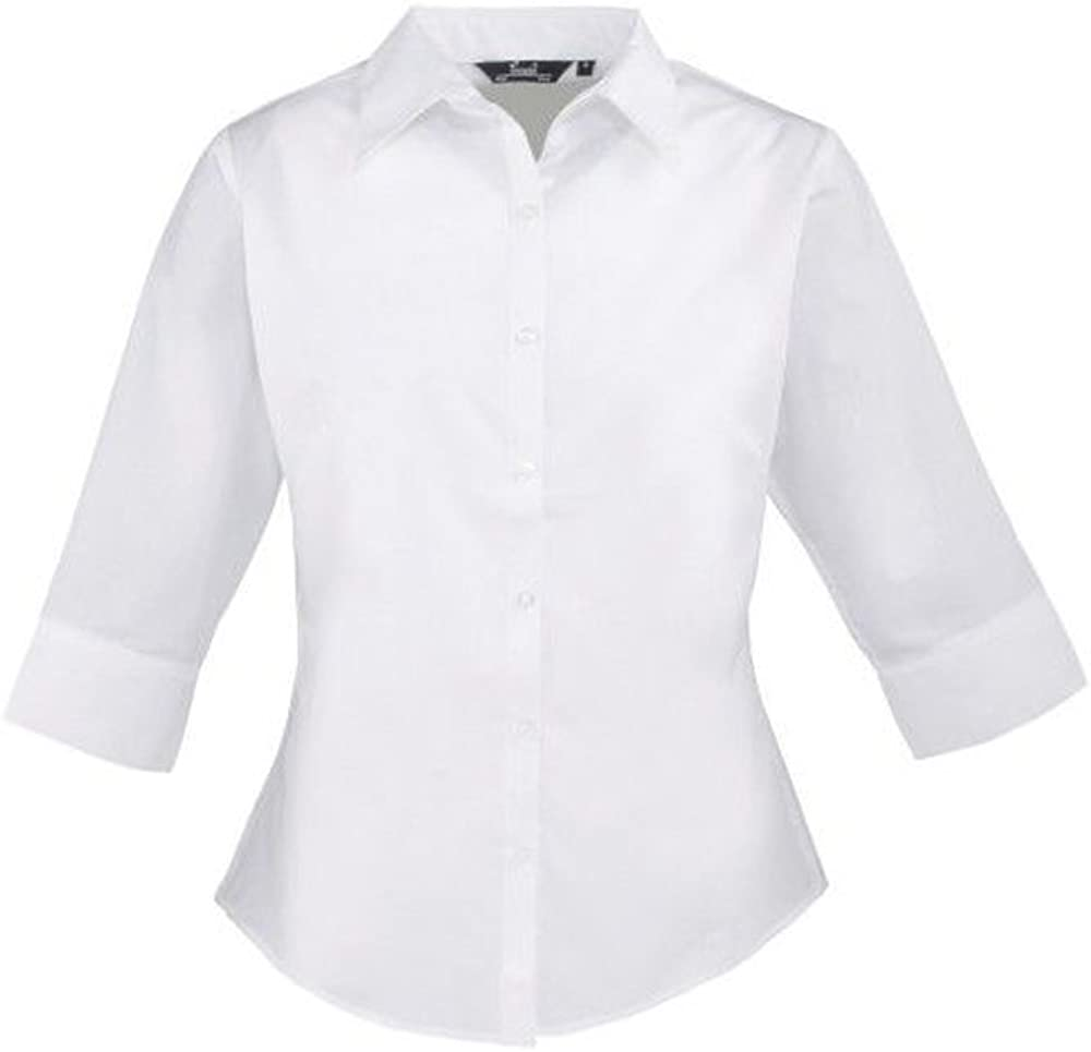 Ladies Plain Work Shirt Premier Womens poplin Short Sleeve Blouse