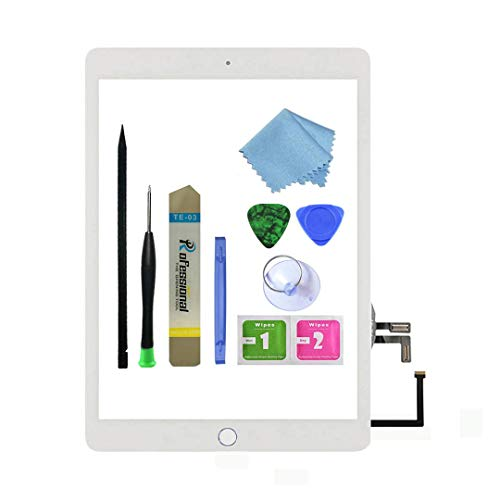 Zentop for White iPad 5 2017 9.7 inch (A1822, A1823) Touch Screen Digitizer Assembly Replacement with Home Button, Camera Bracket, Pre-Installed Adhesive, Tool Repair Kit