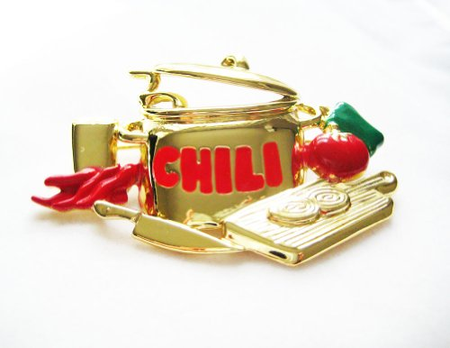 [Danecraft Gold-Plated Chili Cookoff Competition Chef Pin Brooch] (Chili Cook Off Costumes)