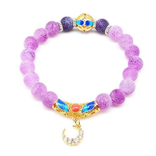 - Handmade Natural Lavender Stone Beaded Stretch Charm Bracelet Gilding Moon Pendant for Women
