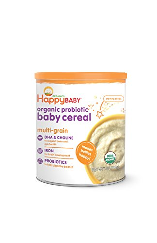 Happy Baby Organic Probiotic Baby Cereal with DHA & Choline, Multi-Grain, 7 Ounce