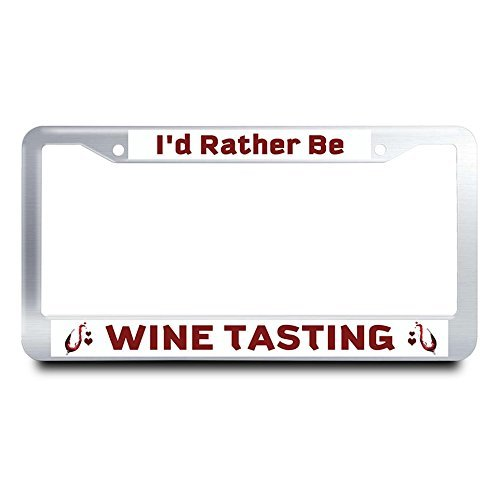 Jesspad I'D Rather Be Wine Tasting Metal License Plate Frame Heart License Plate Cover Funny Auto Tag Holder Metal Car Tag Frame,12 X 6 Inches -