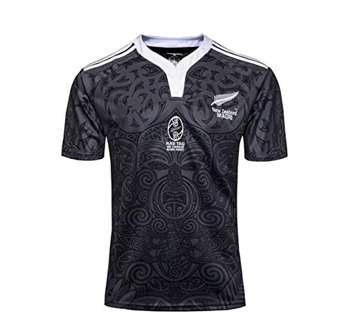 HANJIAJKL Equipo de Nueva Zelanda, 2019, Copa del Mundo, Camisas para Hombres Maori All Blacks, Camiseta de…