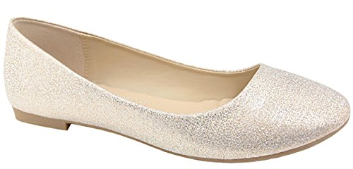 Bella Marie Mujeres Classic Slip On Round Toe Ballet Champagne Plano