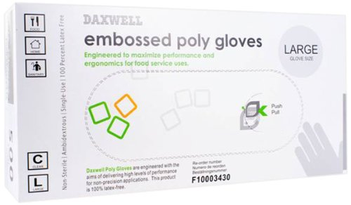 Daxwell F10003430 Gloves, Embossed Poly Gloves, Large (5,000; 10 Boxes of 500) by Daxwell (Image #1)