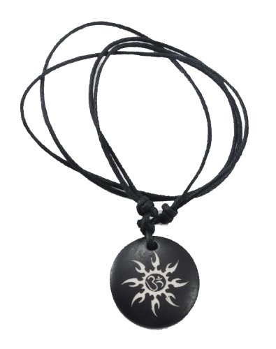 Handmade Tribal Synthetic Bone Pendant Necklace, Adjustable (Om Sun)