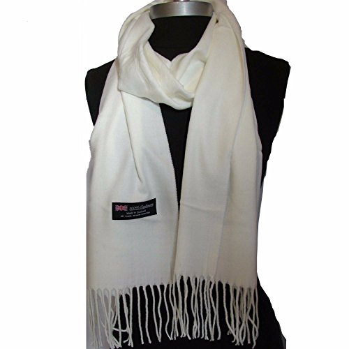 Easy-W Off White_Scarves Warm Thick Winter Scarf Solid Scotland Wool