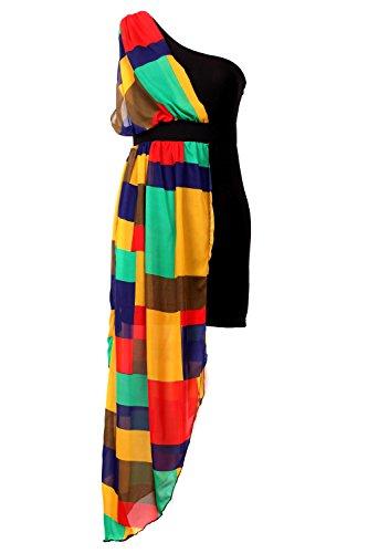 G2 Chic Women's Juniors Asymmetrical Chiffon Summer Dress(DRS-EVP,YEL-L)