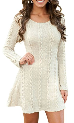 SportsWell Women's Thin See-through Long Sleeve Pullover Knitted Sweater Dress 0, White