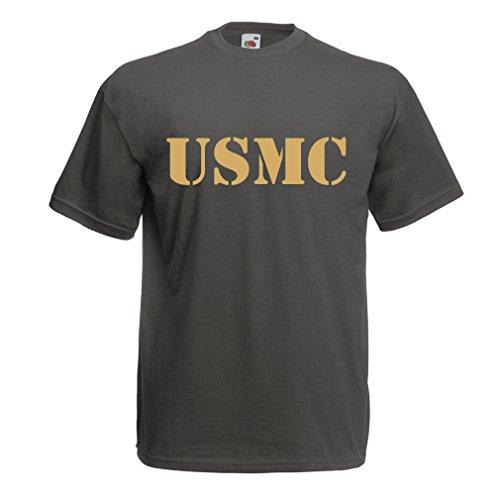 (lepni.me Men's T-Shirt USMC Emblem, Marine Corps, Marines Logo, US Navy Armed Forces (XXX-Large Graphite Gold))