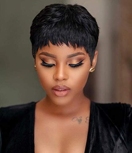 Naseily Short Black Pixie Cuts Hair Wigs African American Short Black Wig Female Hairstyles