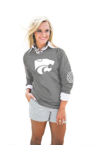 Gameday Couture NCAA Kansas State Wildcats Womens Puff Print Elbow Patch Long Sleeve Alternate, X-Large, Grey