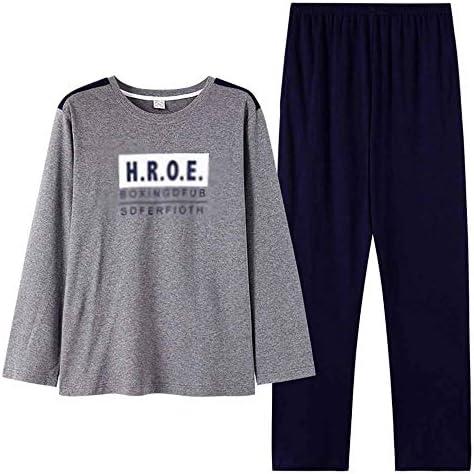 メンズパジャマ ロングスリーブコットンラウンドネックタートルネックセットカジュアルスポーツウェアラブルホームメンズパジャマセットを着用してください 上下 セット 春 秋 (Color : Photo color, Size : XXXL)