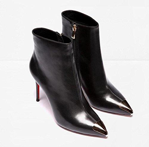 di paillettes Stivali tacco Martin 36 punto metallo Fashionista Boots la Ankle 39 genuino Donna alto per cuoio qX7wgTWF7r
