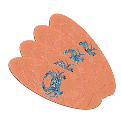 Mosaic Crab Double-Sided Oval Nail File Emery Board Set 4 Pack