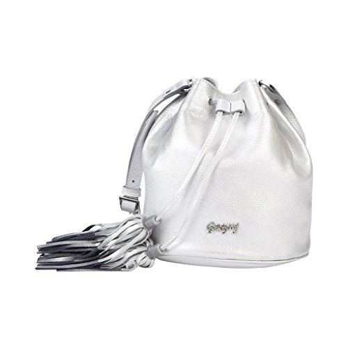 Gaspy Juliana Women's Crossbody Bucket Bag, 100 Percent Colombian Leather (Glossy Silver, Sandy Pattern) by Gaspy