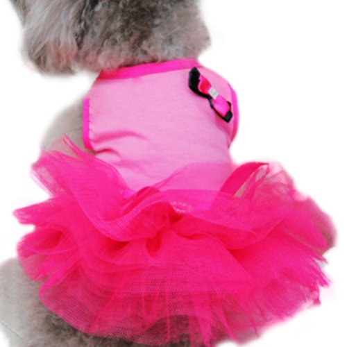 Balai Small Dog Cat Clothes Round Neck Bowknowt Tulle Skirt Tutu Dress