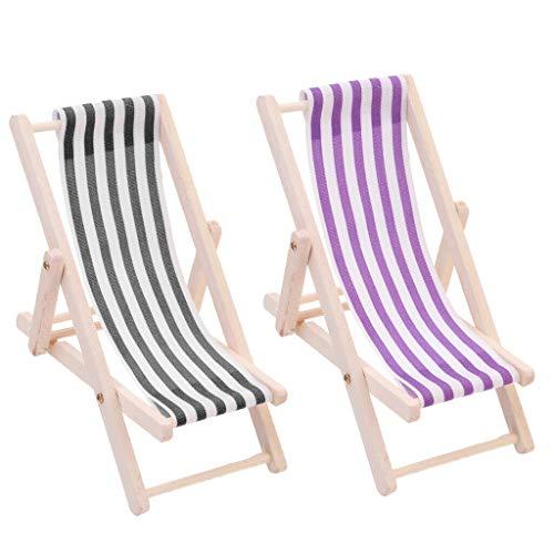 (NATFUR 1:12 Dolls House Foldable Wooden Deckchair Garden Beach Sand Accessory -2pcs)