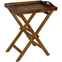 Bare Decor Kalos Outdoor Solid Teak Wood Tray Table, 30-Inch, Brown