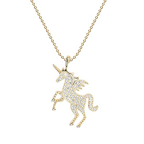 Gold Unicorn Charm - URDEAR 925 Sterling Silver Gold Plated Unicorn Pendant Necklace Gorgeous Horse Jewelry Ornaments Unicorn Charms Pendant Necklace Gifts for Women Girls