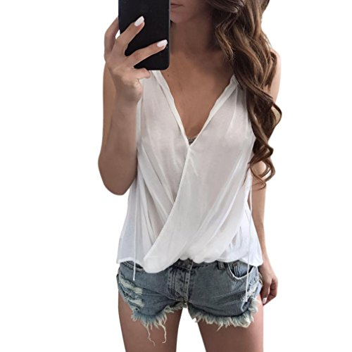 2017 Hot Shirt! AMA(TM) Women Sexy V-neck Sleeveless Shirts Blouse Casual Tank Tops T-Shirt (M, White)