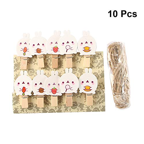 LUOEM 10pcs Wooden Clothespins Crafts Photo Clips Easter Bunny Rabbit Ornaments Decorations (Easter Bunny Clip)