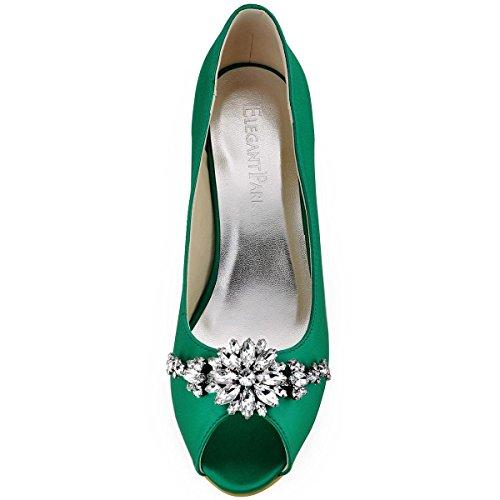 Bout Hp1541 Ouvert Vert Femme Ab01 Pompes Satin Chaussures Elegantpark Fleur Escarpins Diamant YRddPqW