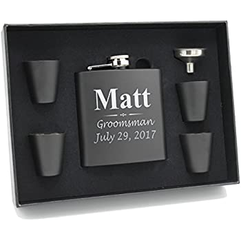 Engraved Personalized Groomsmen Flask Gift Box Set (3 Lines Style - Black Flask Set)