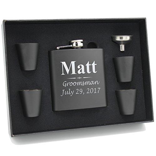 Set of 1, 2, 3, 4, 5, 6, 7, 8 Personalized Black Flask - Custom Engraved Groomsmen, Best Man, Groom Gift Flasks - 3 Lines Style (7) by My Personal Memories (Image #2)