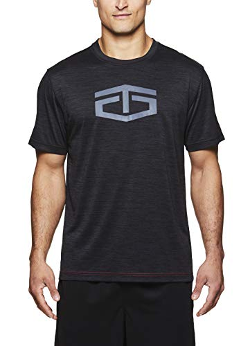 TapouT Men's Short Sleeve Workout & Training T Shirt - Graphic Activewear Crew Neck Tee - Power Crew Black Heather, Large