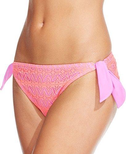 (Hula Honey Coral Purple Crochet Side-Tie Hipster Bikini Bottom)