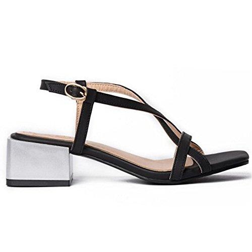 TAOFFEN Women Simple Strap Summer Shoes Black lMVifLe0