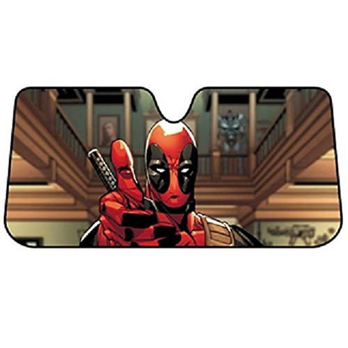 (Deadpool Thumbs Up Marvel Comics Auto Car Truck SUV Vehicle Universal-fit Front Windshield Sunshade - Accordion Sun Shade - FREE SHIPPING)