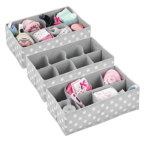 mDesign Soft Fabric Dresser Drawer and Closet Storage Organizer for Child/Kids Room or Nursery - 8 Section Rectangular Organizer - Fun Polka Dot Print, 3 Pack - Gray with White Dots