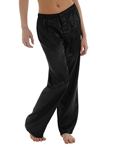 Elegant Moments Robes (Womens Black Charmeuse Pants Satin Pajamas Sexy Lounge Wear Sleepwear Bottoms Sizes: Medium)