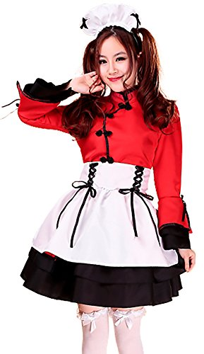 Court Maid Costumes (VSVO 5-Piece Set Maid Costume Cosplay Lolita Dress (XXX-Large, Red))