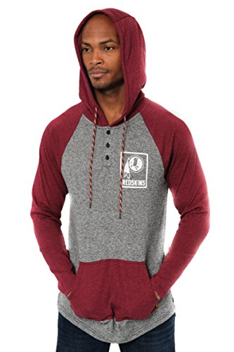 ICER Brands Adult Men Fleece Hoodie Pullover Sweatshirt Henley, Team Color, Burg, X-Large ()