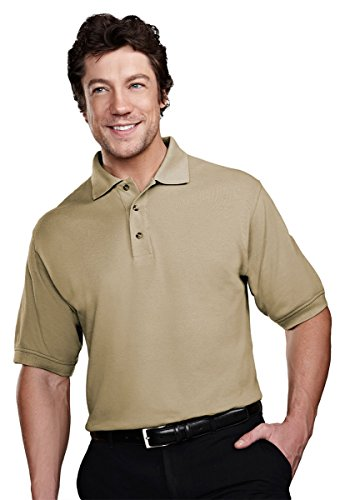 Tri-Mountain 205 Mens stain resistant pique golf shirt - Khaki - (Easy Care Pique Polo)