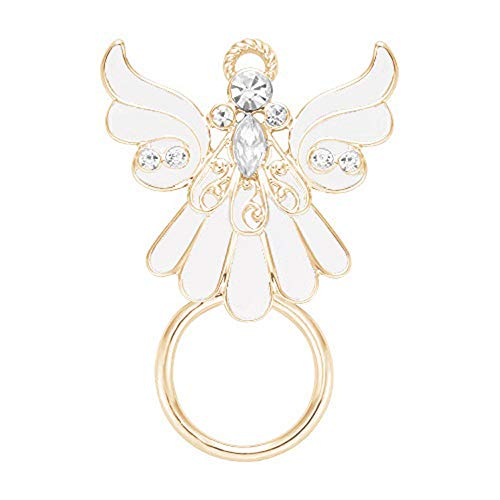 NOUMANDA Natural White Enamel Clear Crystal Angel Wings Magnetic Eyeglass Holder Brooches Pin (Gold)