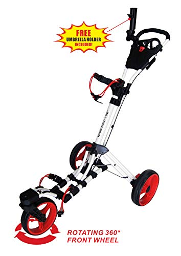 - Qwik-Fold 360 Swivel 3 Wheel Push Pull Golf CART - 360 Rotating Front Wheel - ONE Second to Open & Close! (White/Red)