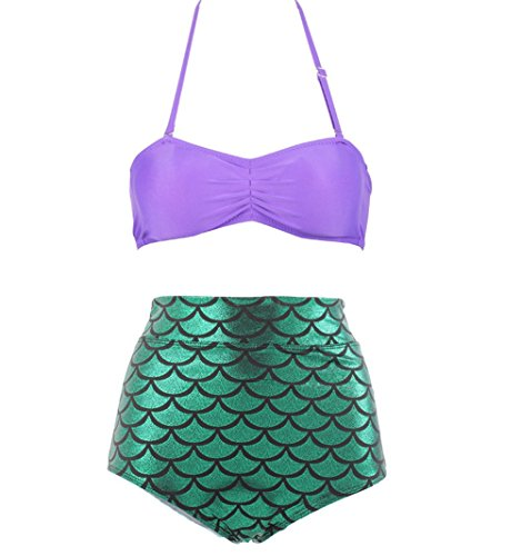 MOMOKI Tall waist scales adult swimsuit, Disney's the little mermaid tail swimsuit (M, Purple)