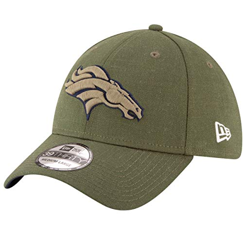 Denver Broncos Hats - New Era Mens NFL 2018 Salute to Service 39Thirty Flex Fit Hat (Medium/Large, Denver Broncos) Green