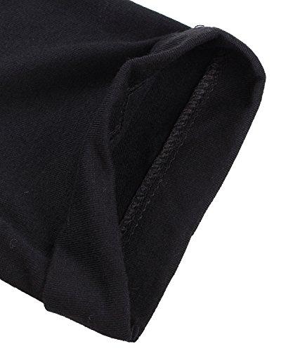 ZANZEA Mujer Camiseta Mangas Cortas Blusa Cuello Botones Elegante Noche Deportiva Casual Negro