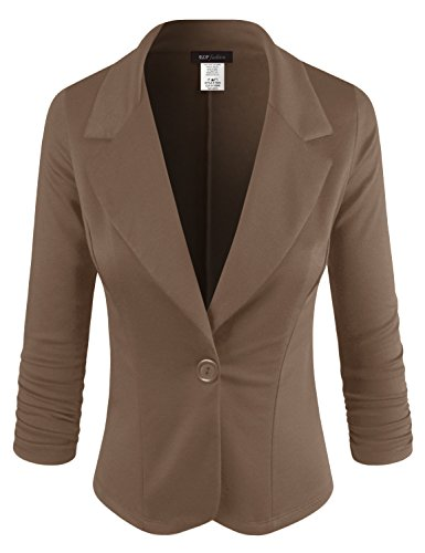 ELF FASHION Women Casual Work Knit Office Blazer Jacket Made In USA (Size S~3XL) BROWN - Blazer Utility