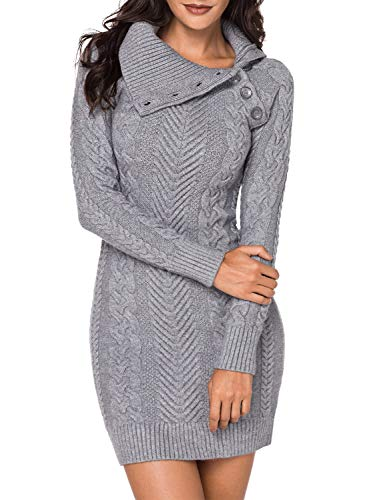 BLENCOT Womens Ladies Sexy Bodycon Sweater Dress Asymmetric Collar Long Sleeve Tunic Sweater Pullover Gray XL